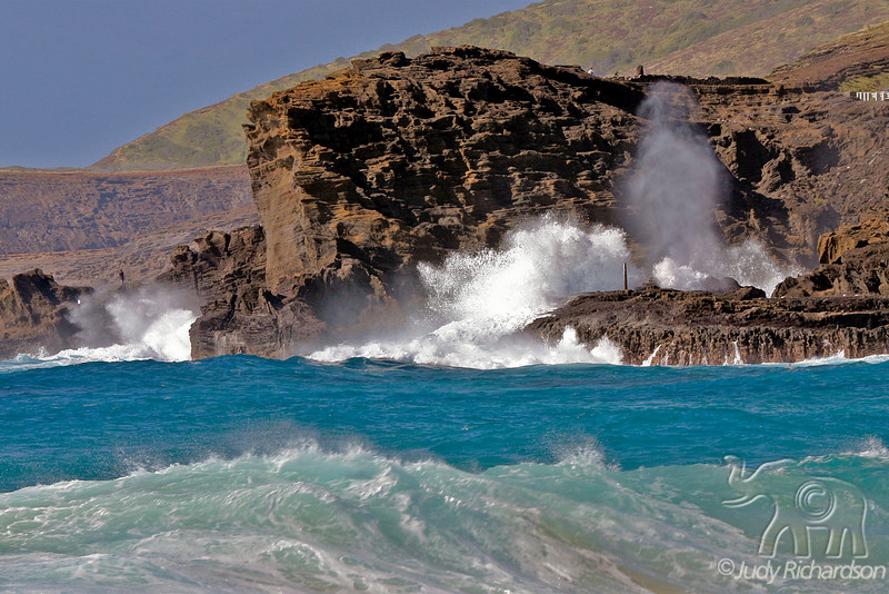 Blow Hole~Halona winter surf as seen from Sandy Beach, O'ahu