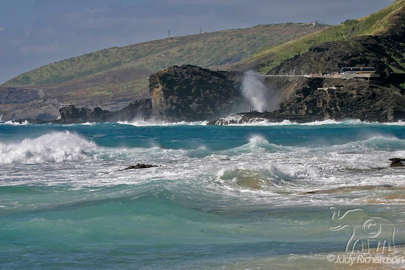 Churning surf at Sandy Beach