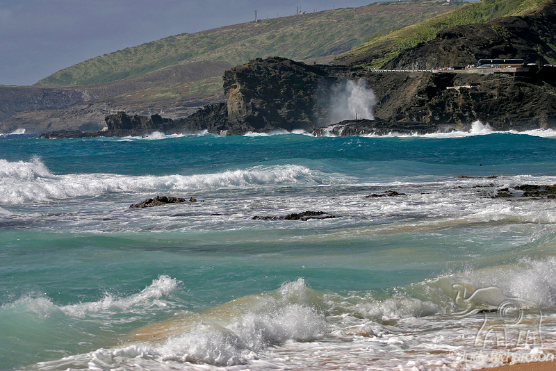 Treacherous surf from Sandy Beach looking at Blow Hole~Halona