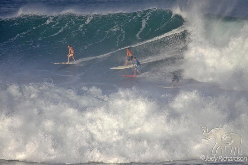 Riding the wave through spray