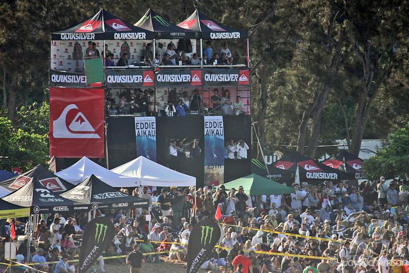 QuikSilver Eddie Aikau VIP Stand and spectators at Waimea Beach