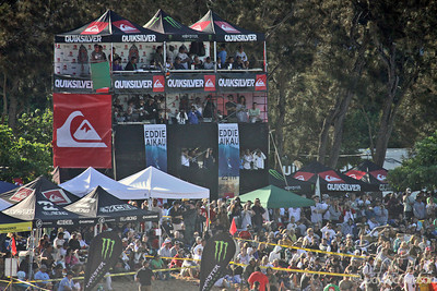 QuikSilver Eddie Aikau VIP Stand and spectators at Waimea Beach