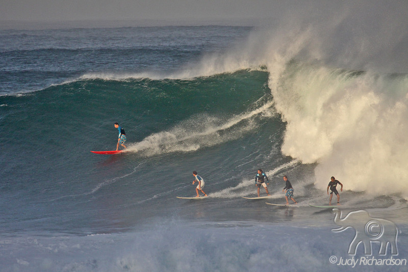 Five surfers catching the wave