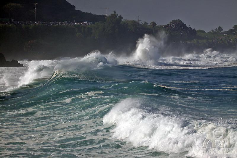 Early morning light on big waves at Waimea Bay