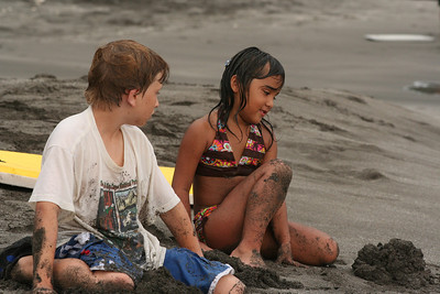 My son and a local girl hung out all afternoon, mostly boogie boarding and then building sand castles.