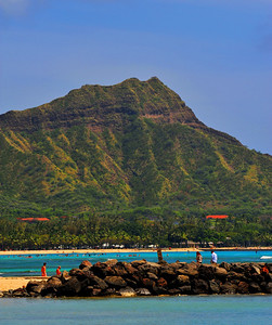Diamond Head in the distance, as seen from Waikiki Beach  (C) 2009 Brian Neal