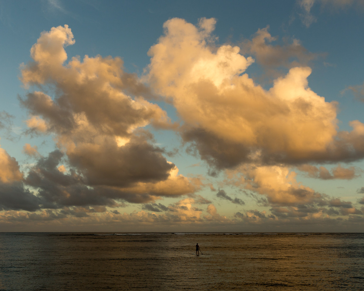 Paddle Boarder and Clouds, Hanalei Bay, Hawaii
