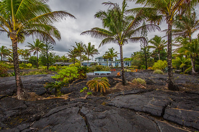 House in lava field by the Pacific Ocean on the Big Island of Hawaii