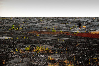Walking on Kilauea's lava flow