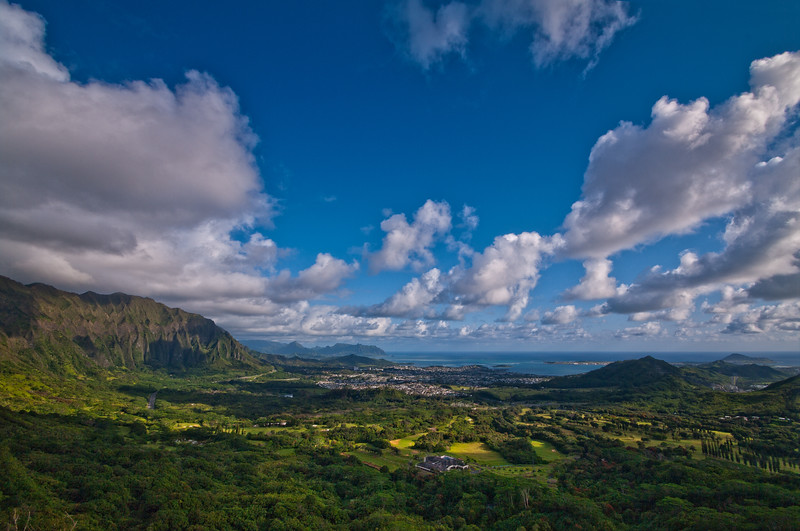 Looking down at Kaneohe from the Pali Lookout