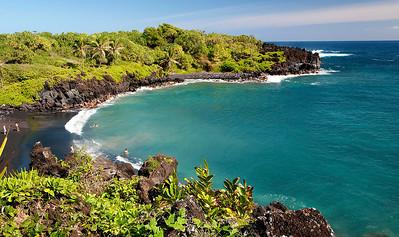 Black sand beach on the eastern side of Maui