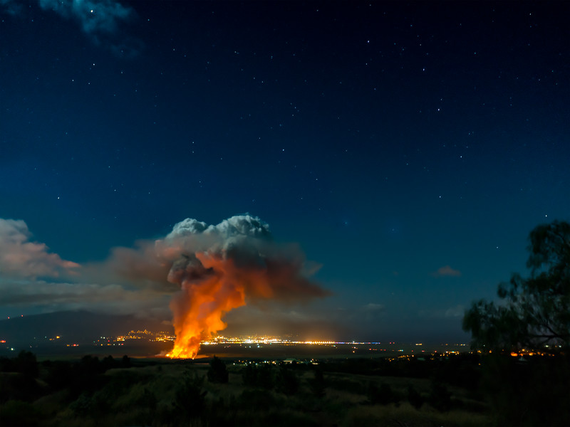 Cane Fire & Big Dipper   Maui,Hawaii