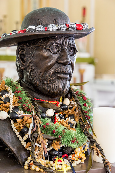 Bust of Father Damien, St. Philomena Church, Kalawao, Molokai, Hawaii. Father Damien served the people of Kalawao and Kalaupapa from 1873 until his death in 1889, three years after contracting leprosy. He was beatified by Pope John Paul II in 1995 and canonized by Pope Benedict XVI in 2009.