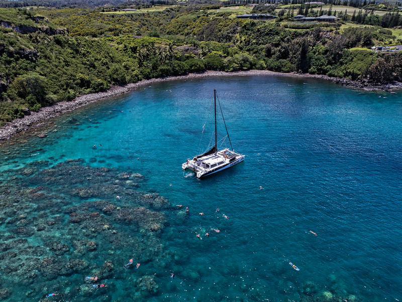 Catamaran at Honolua Bay, Maui, Hawaii