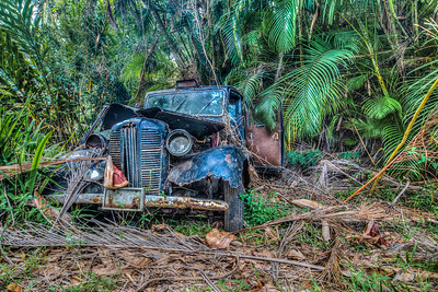 Old taxi seen on Hana Highway, Hana, Maui, Hawaii, USA