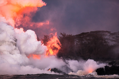 Some of the first images of the new lava ocean entry flows that have decimated neighborhoods in southeast Hawai'i island.