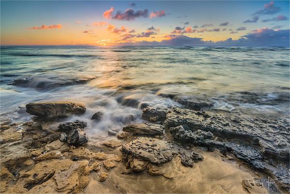 Sunset on the Rocks, Ke'e Beach, Kauai