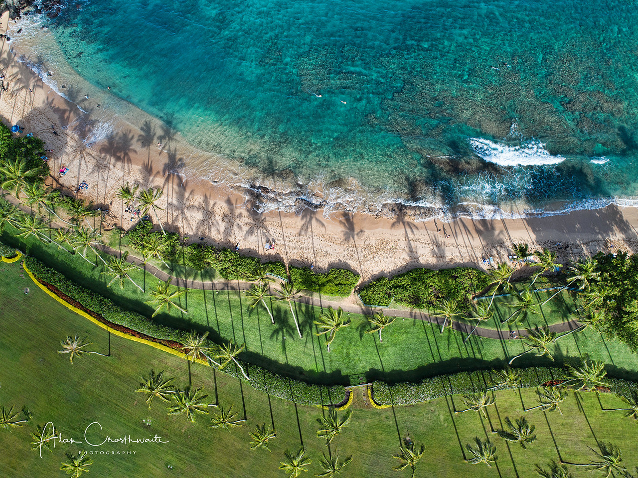 Lookdown at Kapalua Bay, Maui, Hawaii.