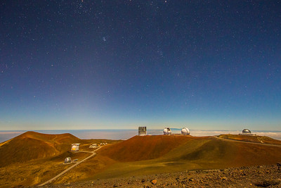 Mauna Kea Observatories just past sunset