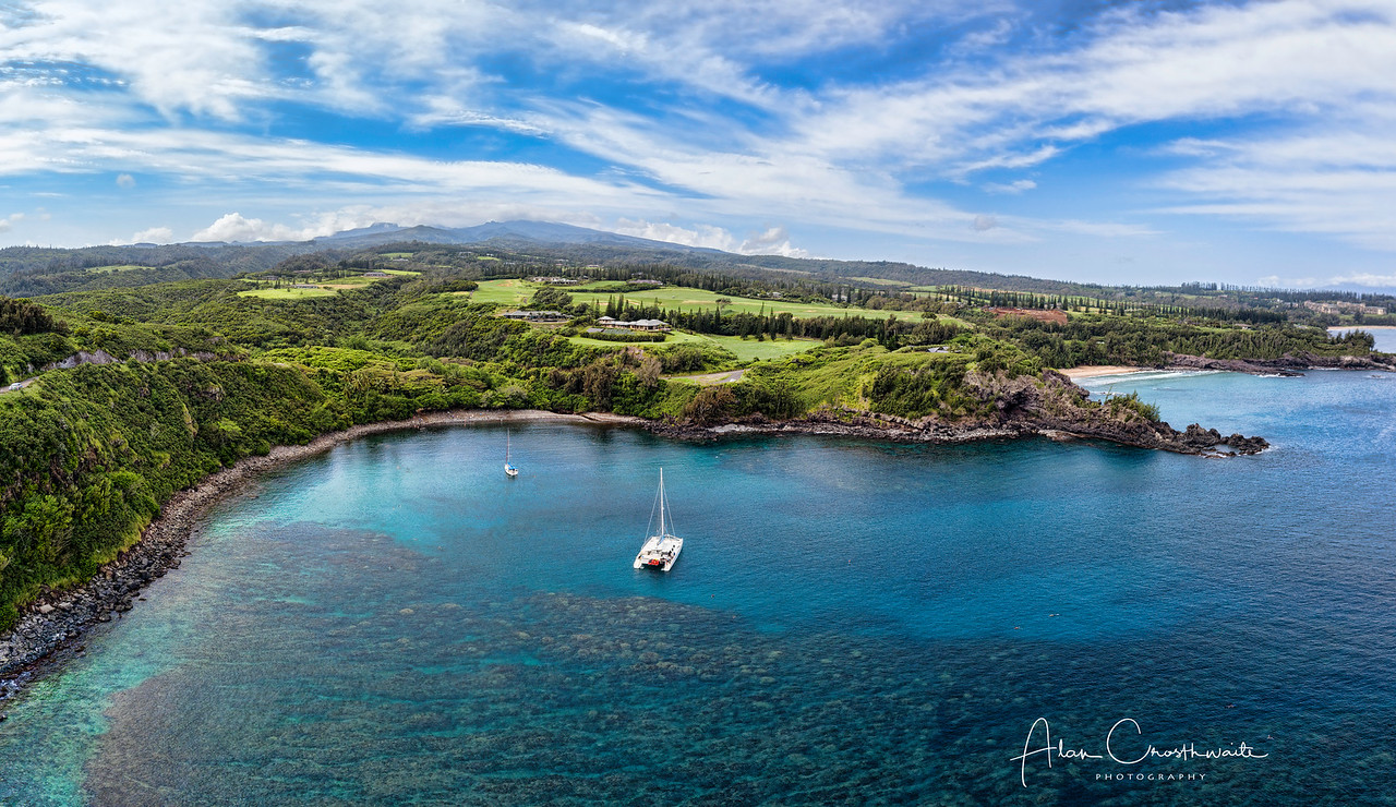 Catamaran on Honolua Bay