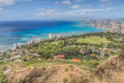 Honolulu, shot from rim of Diamond Head Volcano, Hawaii, USA