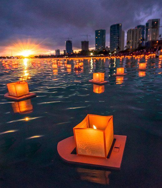 Floating Lanterns in the Sea