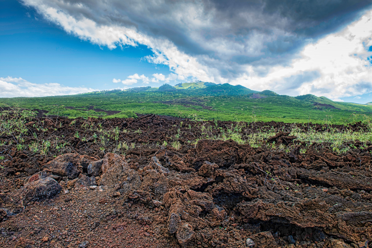 Lava fields in south western Maui