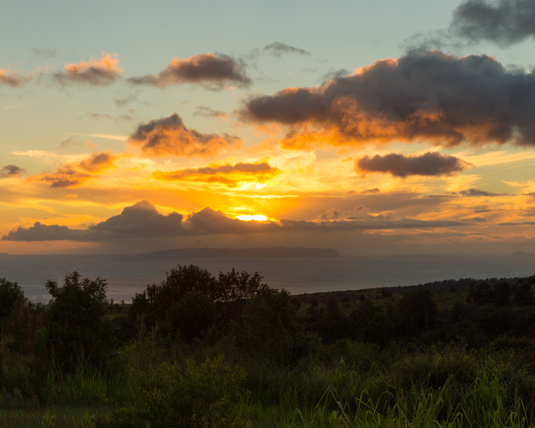 Sunset and Clouds, Niihau and Lehua Islands, HI