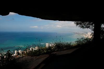 Looking back along Waikiki from the Diamond Head lookout bunker