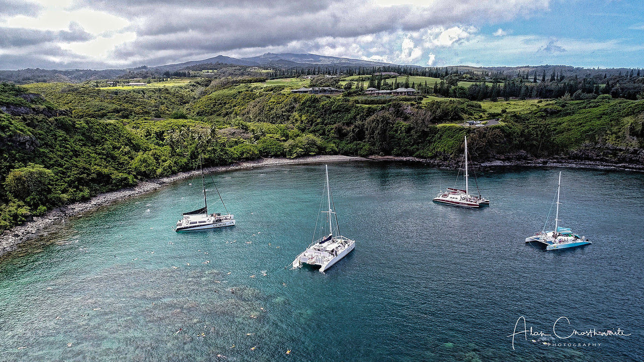 Catamarans in Honolua Bay