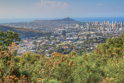 Diamond Head Volcano and downtown Honolulu, Hawaii seen from Round Top Drive