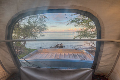 Shot from inside the Volkswager Westfalia Camper I stayed in - along the Honoapiilani Highway by the Pacific Ocean in Maui
