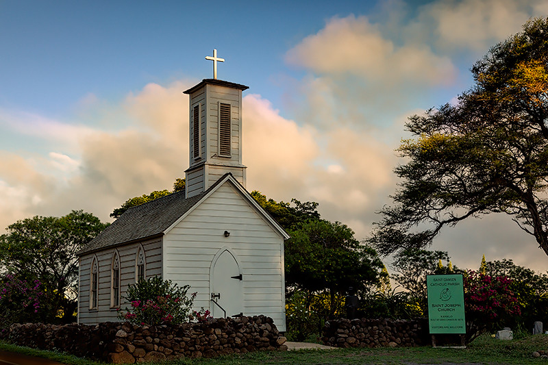 St. Joseph's Church built by Father Damien in 1876, Kamalo, Molokai.