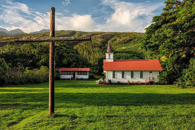 Our Lady of Seven Sorrows Church built by Father Damien in 1874, Kalua'aha, Molokai.