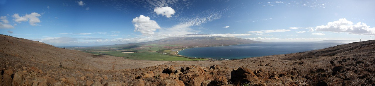 Taken from the tip of the West Maui Mountains, among the power windmills