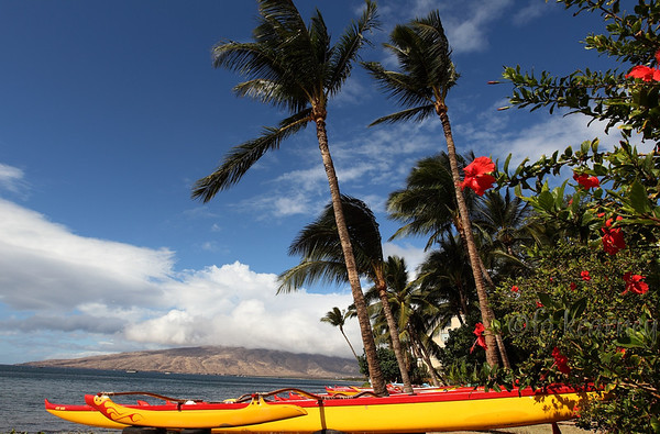 Kiehi rowing club canoes, with West Maui Mountains