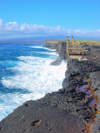 Waves Break on South Point Cliffs