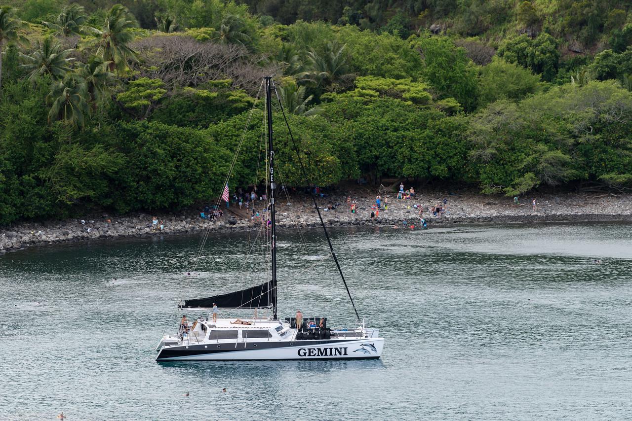 Catamaran in Honolulu Bay