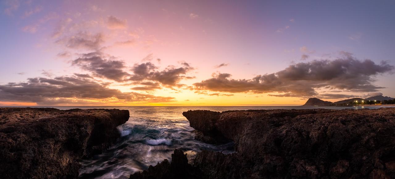 Nanakuli Beach Sunset Panorama 2
