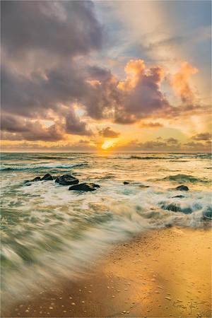 Surf at Sunrise, Lydgate Beach, Kauai