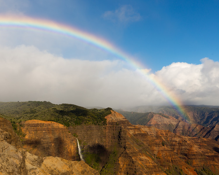 Rainbow and Waipoo Falls, Kauai, HI
