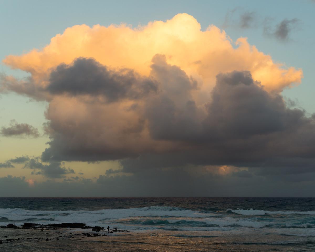 Fisherman and Rain Clouds, Kapaa, HI