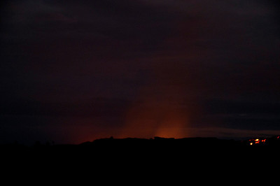 The glow of lava hitting the ocean