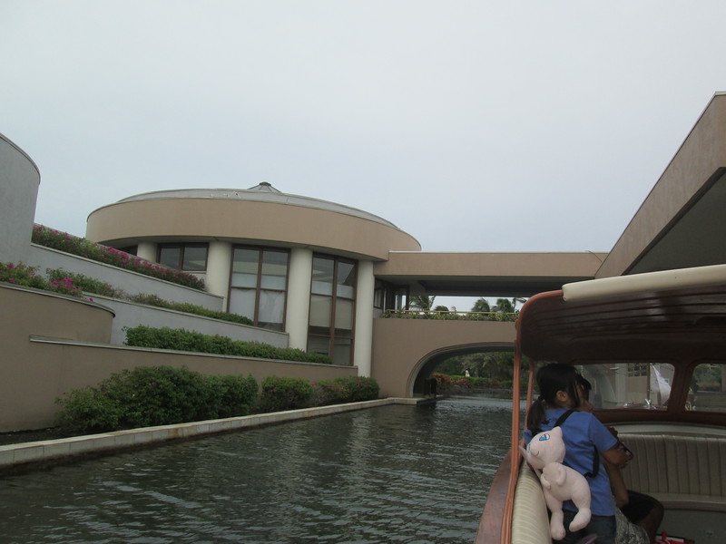 View from riding in one of the boats. The round building is the only place you can have breakfast at