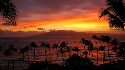 Maui sunset, looking across to Lanai