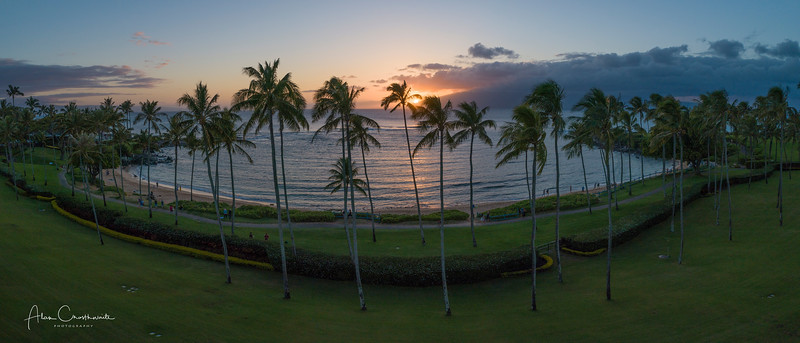 Kapalua Bay Sunset Panoramic, Maui, Hawaii