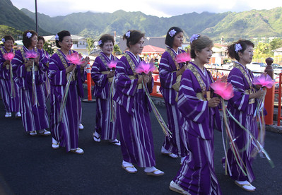 Women Wearing Colorful Kimonos during the Procession