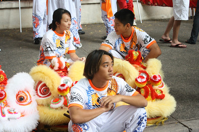 Youth Lion Dancers Wait to Perform