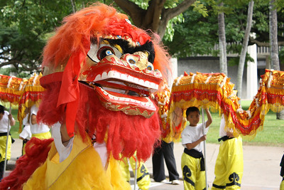 Lion and Dragon Dance Together