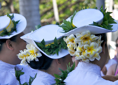 Hula Dancers' Hats And Flowers Closeup